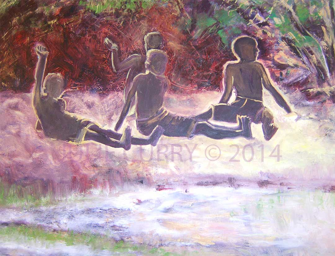 An oil painting portrait of boys sitting on the beach waving a friendly hello by Julie Curry an oil painter