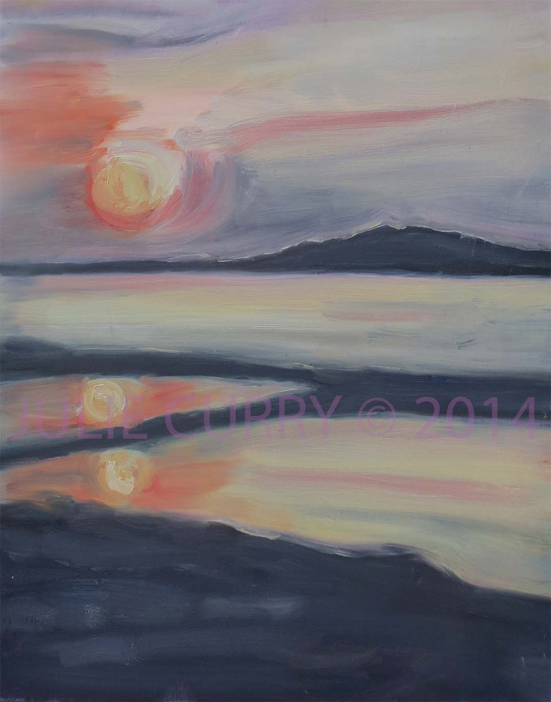 An oil painting portrait a landscape at dawn by Julie Curry an oil painter