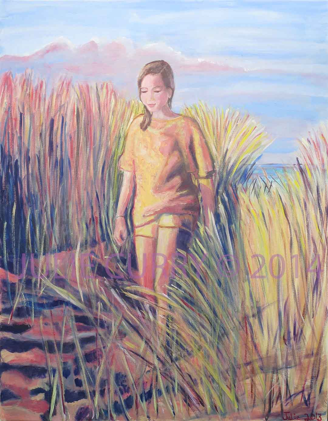 An oil painting portrait of colourful grasses of the sandy dunes at sunset as the girl walks back from the beach by Julie Curry an oil painter
