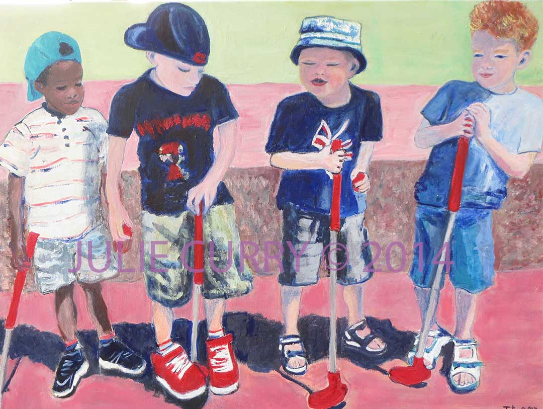 An oil painting portrait of a children's golf birthday party by Julie Curry an oil painter