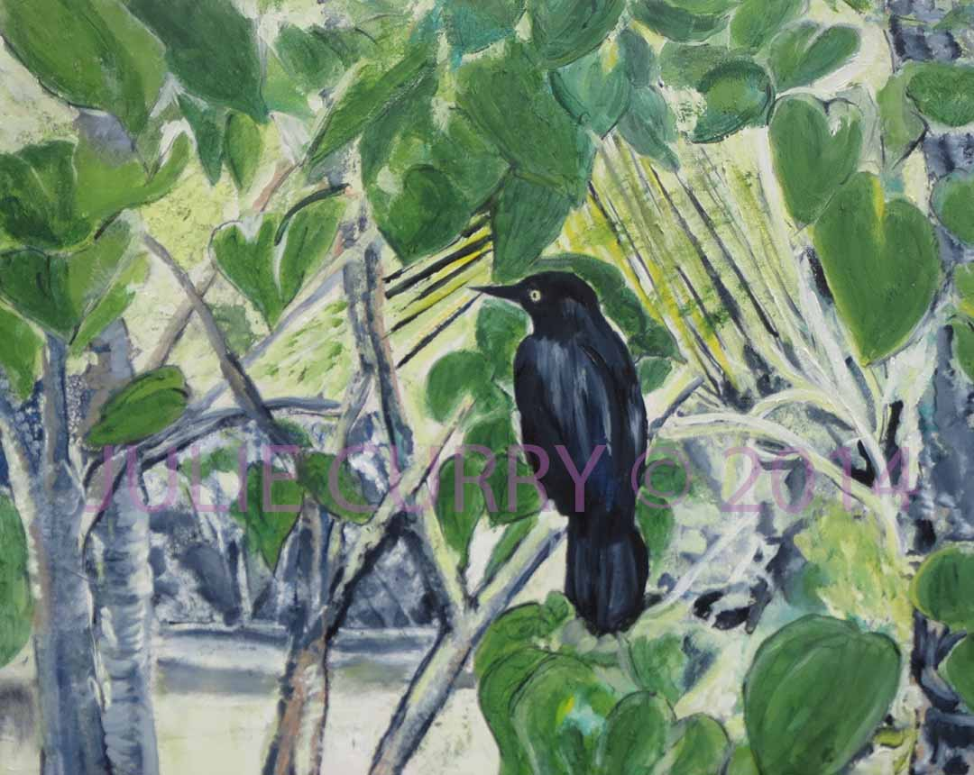 An oil painting portrait of a grackle sitting in a bush by Julie Curry an oil painter