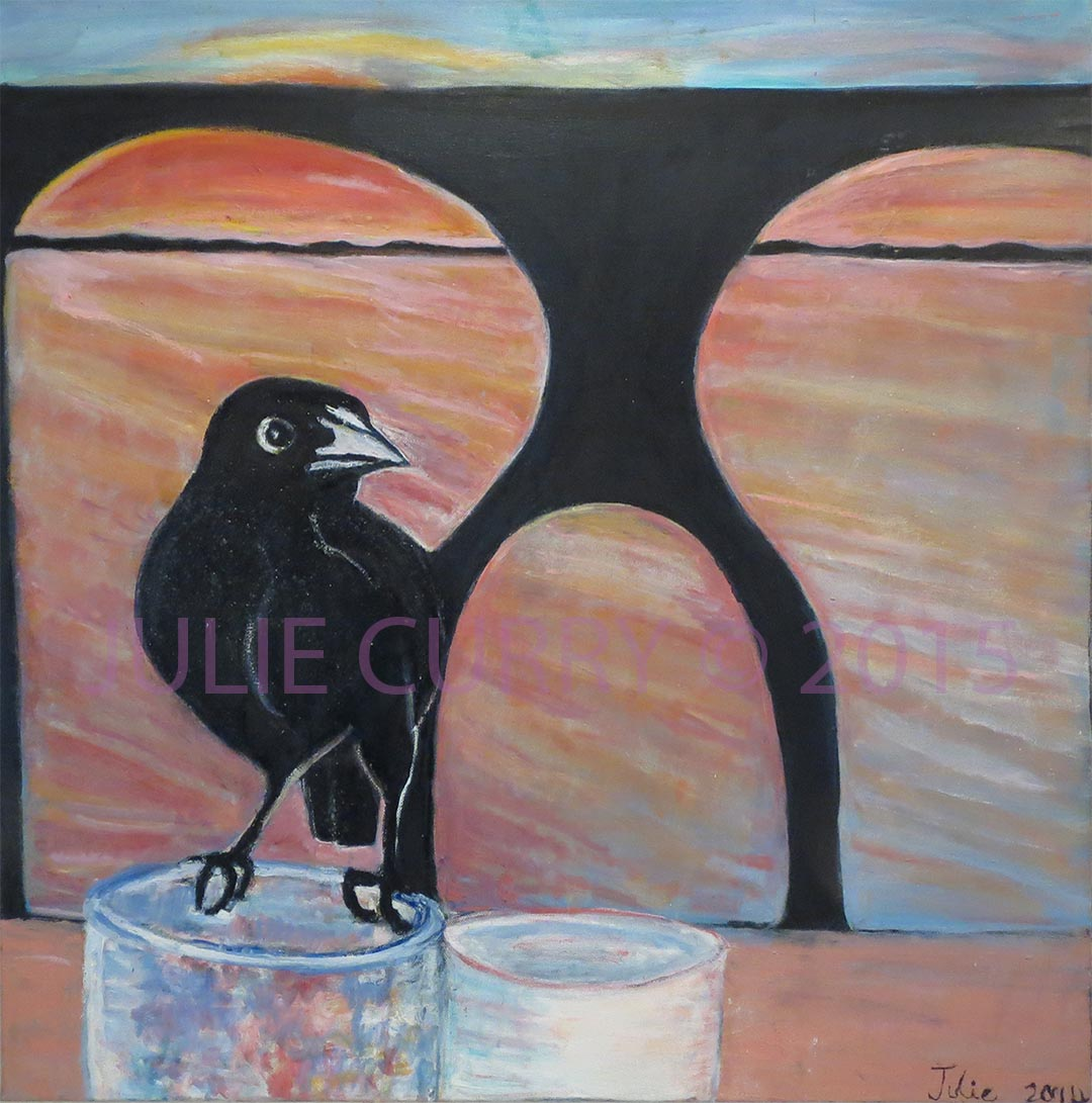 An oil painting portrait of a grackle sitting on a glass by Julie Curry an oil painter