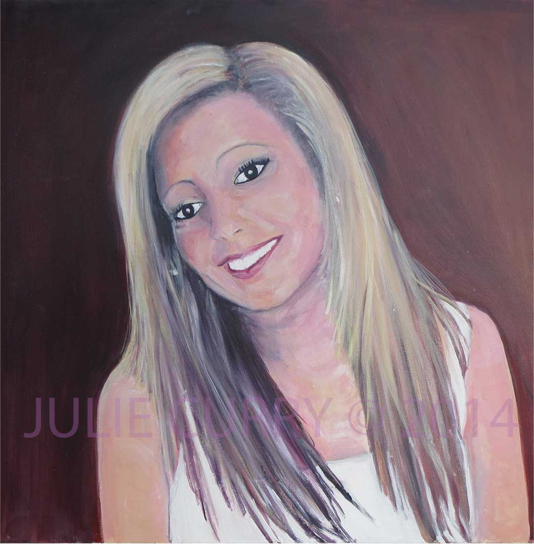 An oil painting portrait of a happy girl by Julie Curry an oil painter