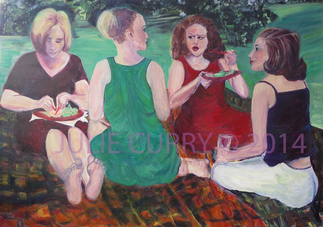 An oil painting portrait of a group of ladies talking amongst themselves by Julie Curry an oil painter