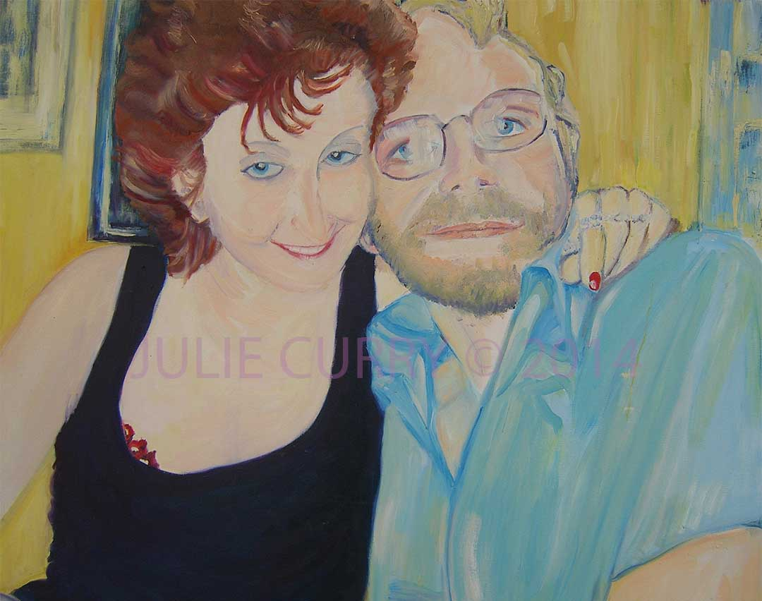 An oil painting portrait celebrating the formation of a new relationship by Julie Curry an oil painter