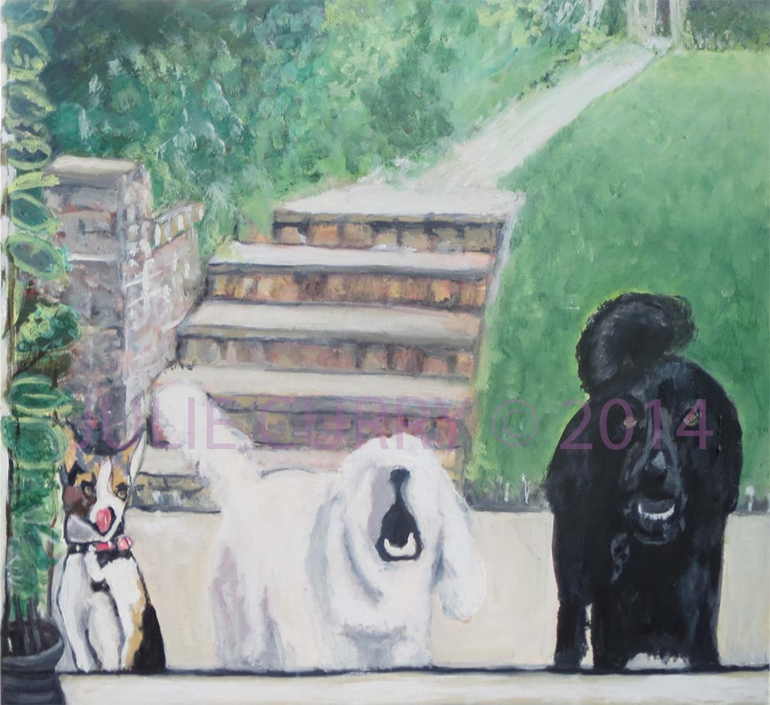 An oil painting portrait of dogs waiting outside by Julie Curry an oil painter
