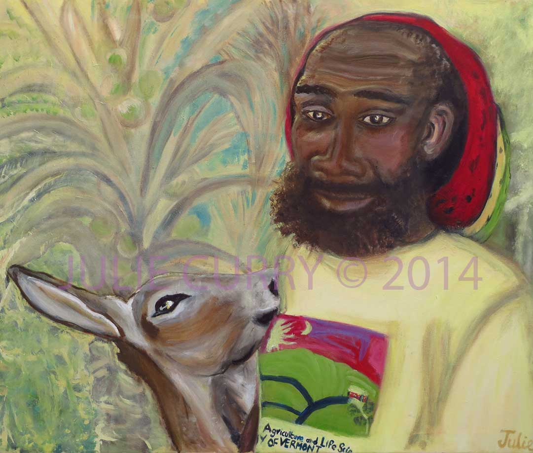 An oil painting portrait of a man and his donkey by Julie Curry an oil painter