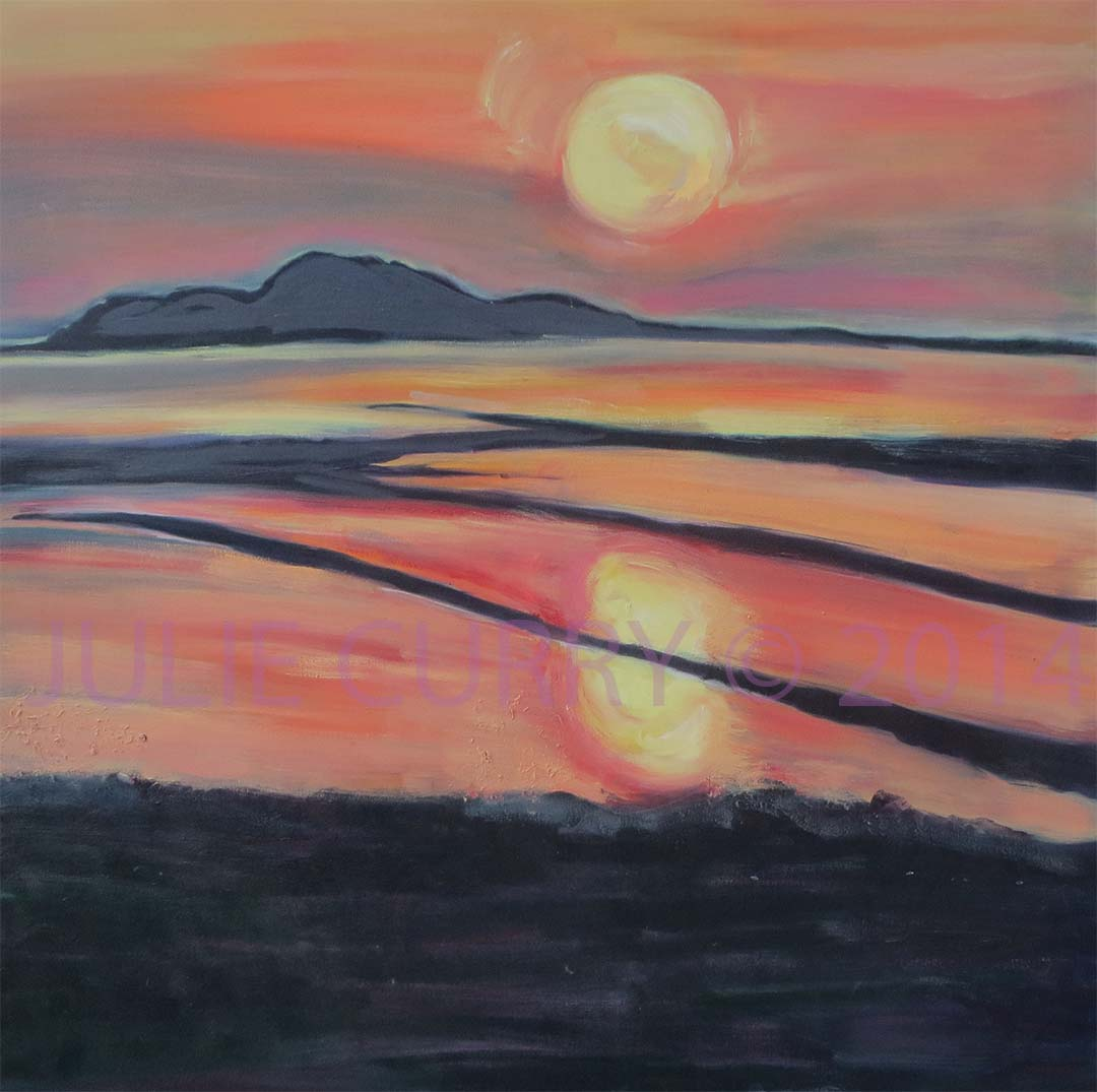 An oil painting portrait of the landscape of a Greek Island at sunset by Julie Curry an oil painter