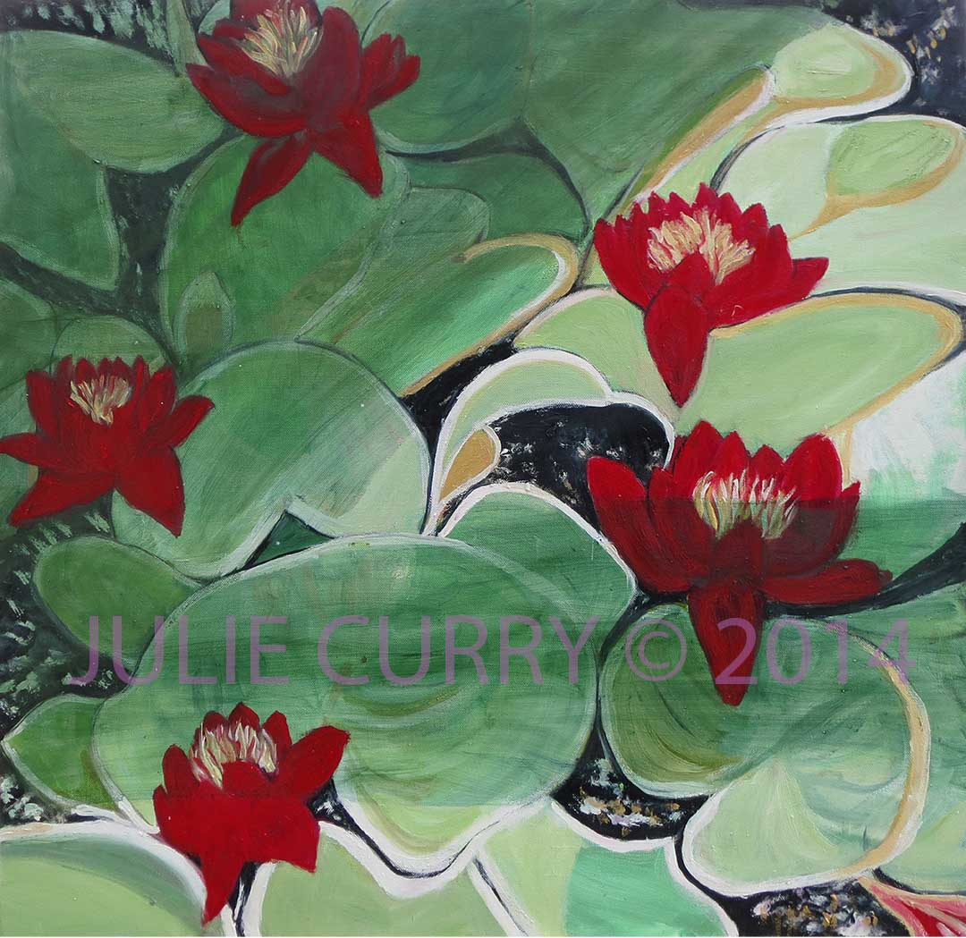 An oil painting portrait of beautiful water lilies by Julie Curry an oil painter