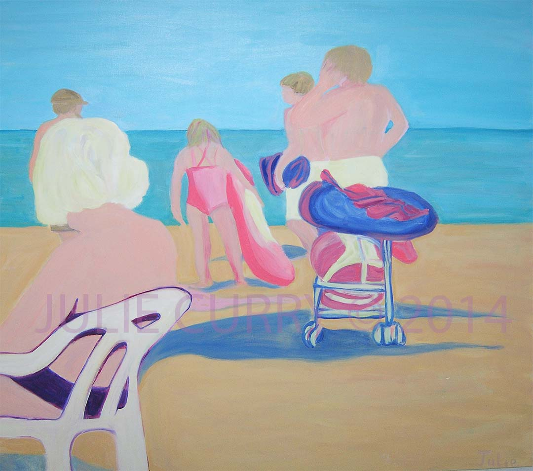 An oil painting portrait of a beach landscape with people looking at something by Julie Curry an oil painter