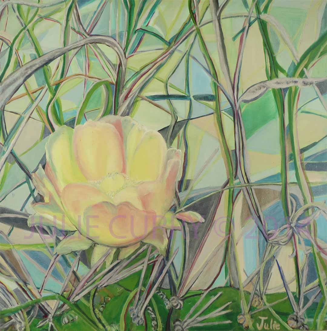 An oil painting portrait of a cactus flower by Julie Curry an oil painter
