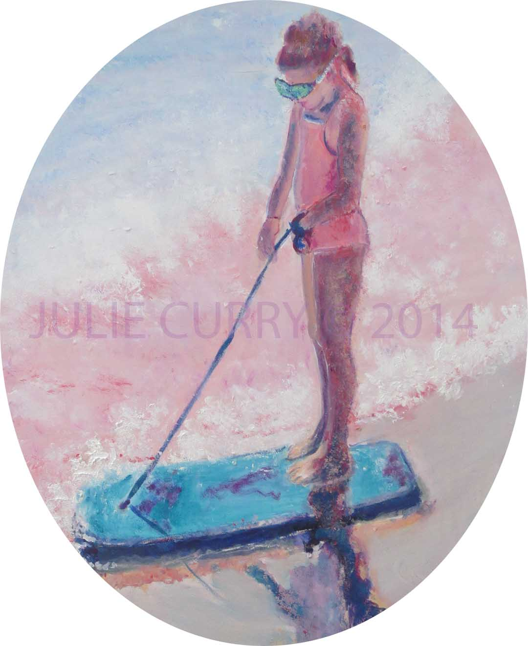An oil painting portrait of a girl and her bodyboard by Julie Curry an oil painter