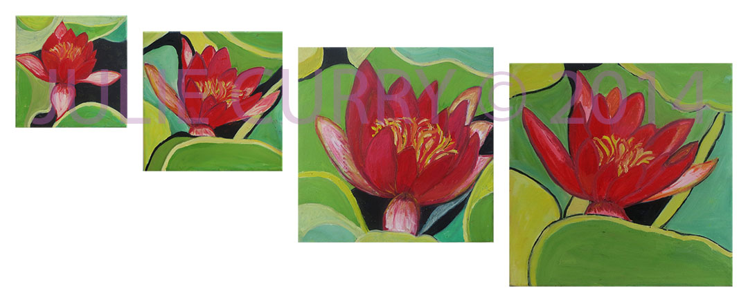 A composition of 4 oil painting portraits of water lillies by Julie Curry an oil painter