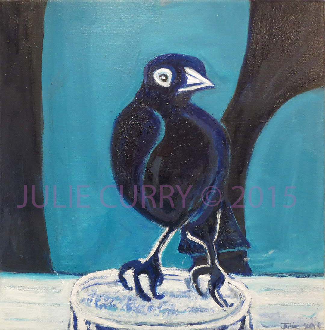 An oil painting portrait of a grackle on a glass in blue by Julie Curry an oil painter